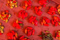 Red paprika being sold at local food market.