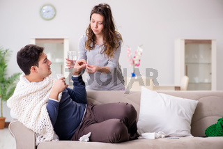 Wife caring for sick husband at home