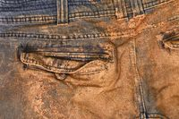 Trousers with mud