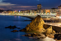 Lloret de Mar Town at night in Spain