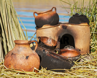 Traditional Mud Pans Used on Uros Islands at Lake Titicaca Peru Bolivia