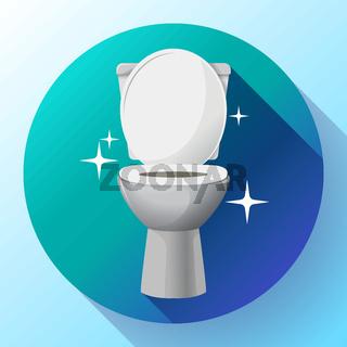 White ceramics vector toilet bowl icon. modern toilet in flat style. Vector illustration.