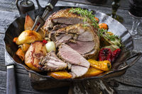 Gigot with Vegetable and Fruit on Iron Pan