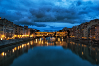 Night reflection of Ponte Vecchio