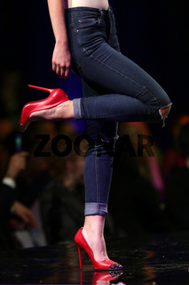 Fashion show runway beautiful red shoes