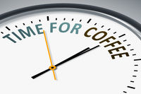 clock with text time for coffee