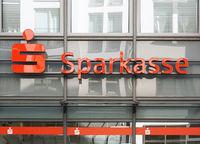 Sparkasse german savings bank logo and branch building