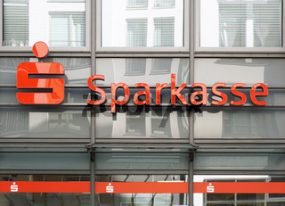 Sparkasse german savings bank logo and branch building