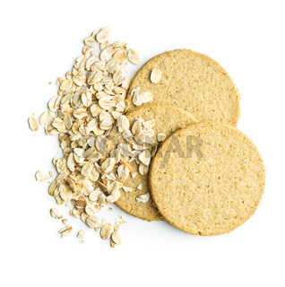 Tasty oatmeal cookies and oat flakes.