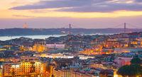 Lisbon panorama at dusk. Portugal