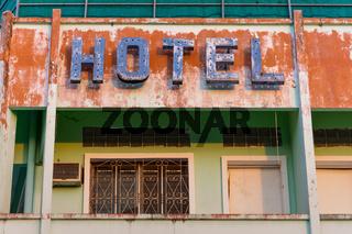 Old metal Hotel sign.
