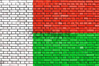flag of Madagascar painted on brick wall