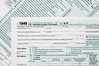 Macro close up of 2017 IRS form 1040