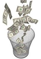 papierkorb mit dollarscheinen