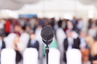 Business conference. Microphone. Corporate presentation.