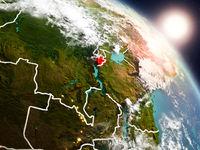 Burundi from space during sunrise