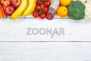 Obst und Gemüse Sammlung Lebensmittel Früchte essen kochen Zutaten Textfreiraum von oben