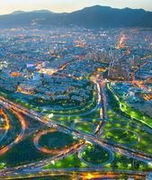 Tehran aerial view twilight, Iran