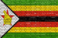 flag of Zimbabwe painted on brick wall