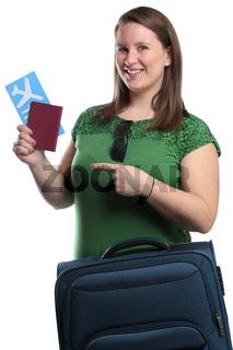 Junge Frau mit Ticket Flugticket Reise reisen verreisen Urlaub fliegen Freisteller