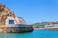Entrance harbor in Albufeira Portugal