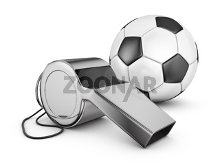 whistle and soccer ball