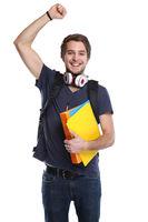 Student Erfolg erfolgreich Freude glücklich jung lachen Freisteller