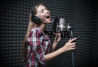 Singer with headphones
