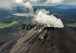 Karymsky is an active stratovolcano. Kronotsky Nature Reserve on Kamchatka Peninsula.