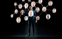 businessman with virtual corporate network