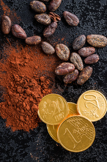 Dark cocoa powder, cocoa beans and chocolate coins.