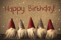 Gnomes, Snowflakes, Text Happy Birthday