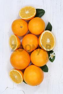 Orangen Orange Früchte Hochformat von oben