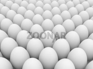 Egg over white background