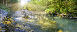panorama scene in Bavaria with river in canyon