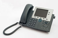 Modern VOIP telephone on white