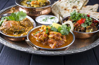 Indian Dishes on traditionel Thali