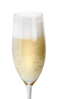 Closeup of glass of champagne with foam