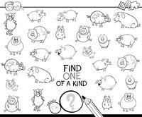 one of a kind game with pig coloring book