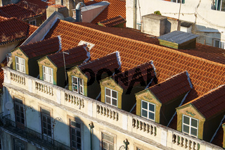 Mansard rooftops in Pombaline Lower Town. Lisbon. Portugal