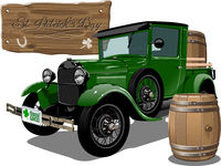 Vector Saint Patrick's vintage cartoon beer truck