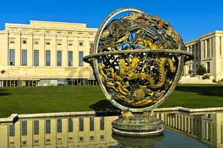 Himmelskugel Woodrow Wilson Memorial Sphere, Vereinte Nationen, Genf, Schweiz