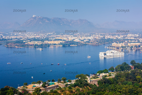 Aerial view of Lake Pichola with Lake Palace (Jag Niwas) and Uda