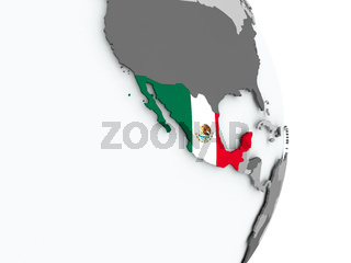 Map of Mexico with flag