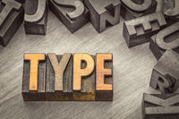 type word abstract in letterpress wood type