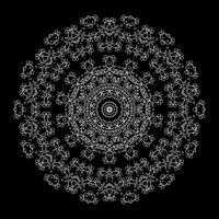 Islam, Arabic, Indian, Ottoman Motifs. Contour Ornament Isolated on Black Background. Ethnic Amulet of Mandala