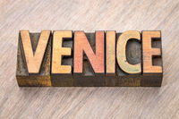 Venice word abstract in wood type