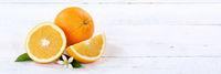 Orangen Orange Frucht Früchte Banner Textfreiraum Holzbrett