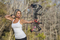 Gorgeous Blonde Model Holding A Bow And Arrow