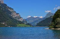 Lake Klontalersee on a summer day. Travel destination in Switzerland.